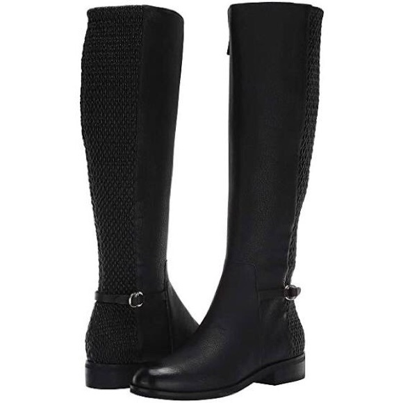 Cole Haan Black Leather Stretch Quilt Riding Boots
